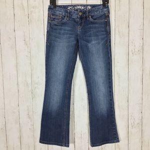 Express Stella Boot Cut Jeans Blue Denim Stretch